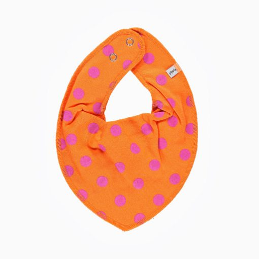 Pippi bib sjaal oranje met roze stippen