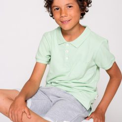 Ebbe Peter Piké Washed pastel green polo shirt