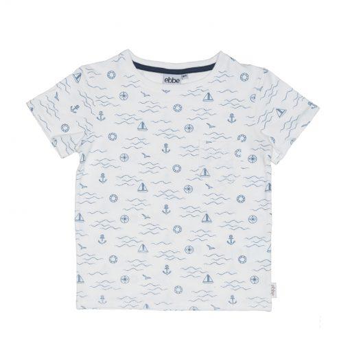 Ebbe - jongens t-shirt - Marcin tee - waves - navy blauw wit