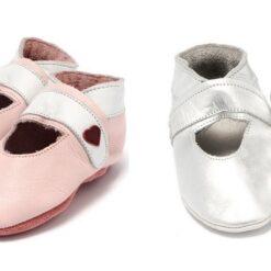 Baby Dutch - babyslofjes - open zilver en roze