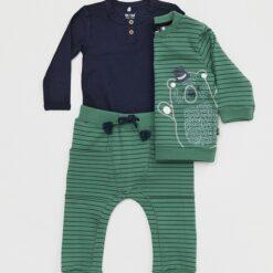 Me Too - sweatshirt - sweatbroek - gestreept - groen - Eileen4Kids